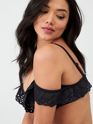 Pour Moi? Wanderlust Cold Shoulder Padded Underwired Bikini Top - Black