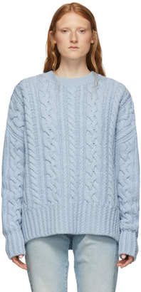 Ami Alexandre Mattiussi Blue Oversized Cable Knit Sweater