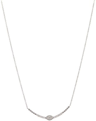 Bony Levy 18K White Gold Diamond Curved Bar Pendant Necklace