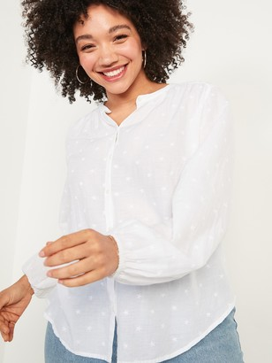 Old Navy Oversized Embroidered Button-Front Poet Blouse for Women