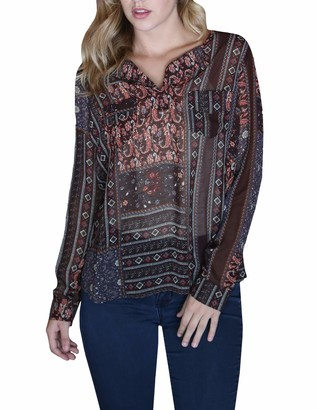 Angie Women's Two Pocket Long Sleeve Top