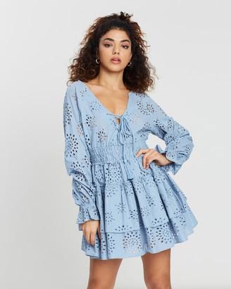 Missguided Petite Broderie Anglaise Ruffle Hem Mini Dress