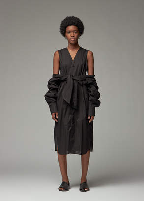 Yohji Yamamoto Y's by Women's Tie Front Shirt Dress in Black Size 2