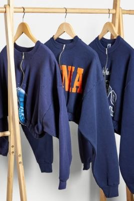 Urban Renewal Vintage Remade From Vintage Navy Zip-Up Bubble Sweatshirt - Blue M/L at Urban Outfitters