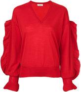 Laneus v-neck ruffle sleeve sweater