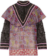 Anna Sui Embroidered Tulle And Printed Silk-blend Chiffon Blouse - Purple
