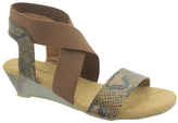 Pierre Dumas Whiskey & Snake-Embossed Adela Wedge Sandal