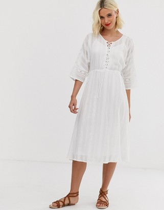 Asos Design DESIGN lace insert midi dress with lace up front-White