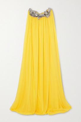Oscar de la Renta Cape-effect Appliqued Silk-chiffon Gown - Yellow