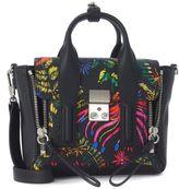 3.1 Phillip Lim Pashli Mini Satchel In Black Leather With Floral Pattern