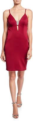 Jovani V-Neck Open-Back Sleeveless Bodycon Dress w/ Jewel Insets