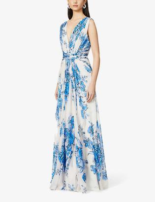 Alberta Ferretti Floral-print silk-crepe gown