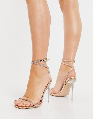 Be Mine Bridal Emberly clear heeled sandals with diamante detail