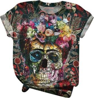 Xniral Women T-Shirt Ethnic Style Cartoon Print Funny Shirt Short Sleeve with Round Neck Streetwear(Multicoloured 2 L)