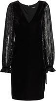 Badgley Mischka Stretch Velvet Sequin Sleeve Dress
