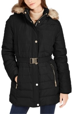 Michael Kors Michael Petite Faux-Fur-Trim Hooded Down Puffer Coat, Created For Macy's