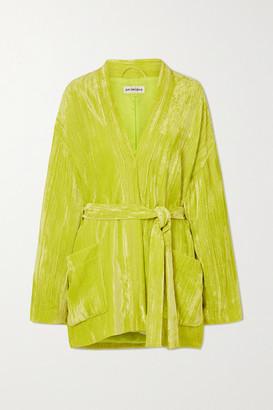 Balenciaga Belted Crushed-velvet Blazer - Yellow