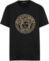 Versace Black Sequin Medusa Cotton T-shirt