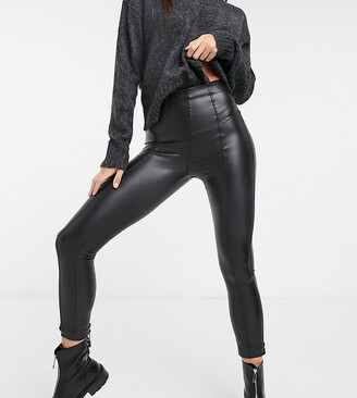 New Look Tall zip detail leather look legging in black