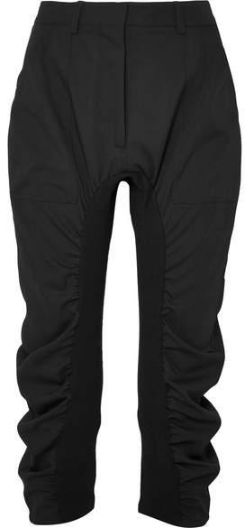 Stella McCartney Tina Jersey-paneled Wool-twill Pants - Black