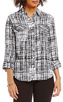 Investments Point Collar Roll-Tab Sleeve Button Front Printed Utility Blouse