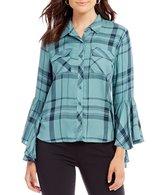 Takara Bell-Sleeve Plaid Shirt