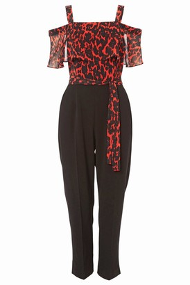 M&Co Roman Originals animal print cold shoulder jumpsuit