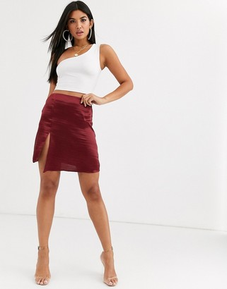 Asos Design DESIGN satin mini skirt with split-Red