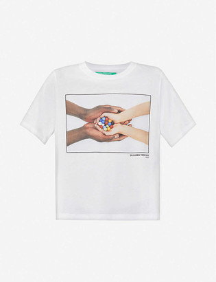 Benetton Graphic-print cotton-jersey T-shirt