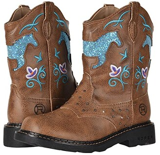 Roper Horse Flowers (Toddler/Little Kid) (Light Beige/Glitter Cut Out Light Up Chunk) Cowboy Boots