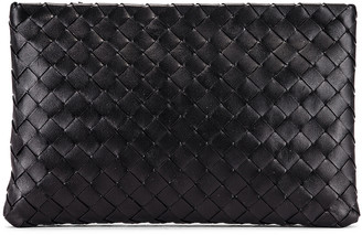 Bottega Veneta Leather Woven Pouch in Black & Silver | FWRD