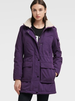 DKNY Parka With Faux Sherpa Lined Hood