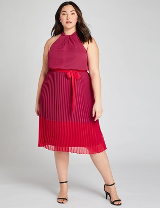 Lane Bryant Pleated Colorblock Fit & Flare Dress