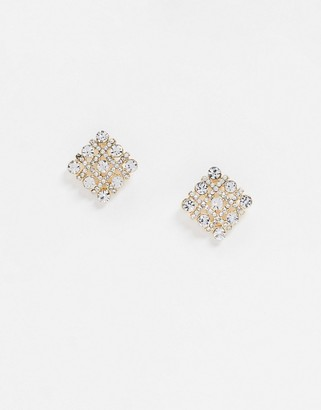 True Decadence square stud earrings with rhinestones in gold