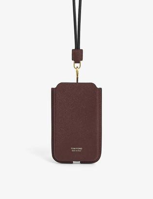 Tom Ford Logo-embellished leather phone holder
