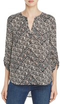 Daniel Rainn Floral Print Split Neck Blouse