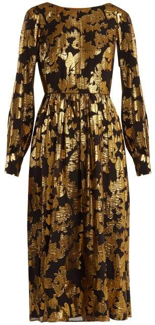 Saloni Camille Floral Jacquard Lurex Dress - Womens - Black Gold