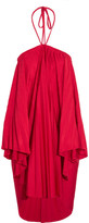 Balenciaga Convertible Pleated Stretch-satin Halterneck Dress - Red