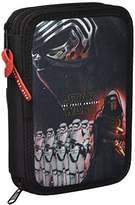 Star Wars Episode VII - Multi-Use Case / 34 Piece Pencil Case, Double Pocket, Black and Red