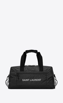 Saint Laurent Nuxx Duffle Bag In Nylon With A Print Silver Black Onesize