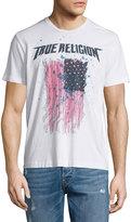 True Religion Paint-Splatter Flag Short-Sleeve Graphic T-Shirt, Optic White