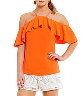 Trina Turk Olan Cold Shoulder Ruffle Crepe Top
