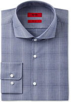 HUGO BOSS HUGO Men's Slim-Fit Dark Blue Windowpane Plaid Cotton Dress Shirt