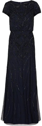 Adrianna Papell Long Beaded Blouson Dress