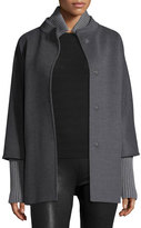 Cinzia Rocca Hidden-Placket Wool Coat, Gray