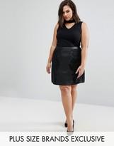 Coast Plus Lela Faux Leather Skirt With Lace Detail