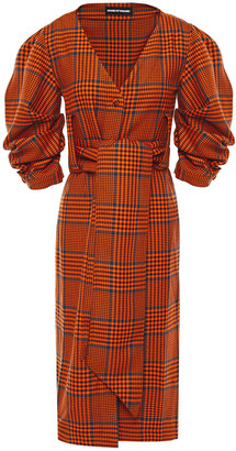 House of Holland Ruched Prince Of Wales Checked Wool-blend Dress