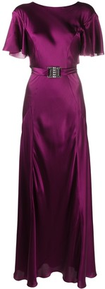 Alberta Ferretti Belted Long Silk Dress
