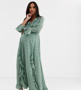 Asos DESIGN Maternity wrap maxi dress with frills in self stripe