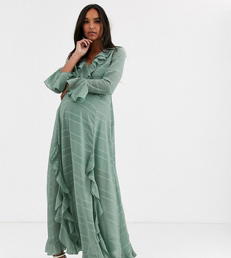 Asos DESIGN Maternity wrap maxi dress with frills in self stripe-Green